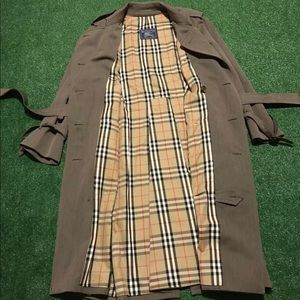Vintage Burberry Nova Check Lined Long Trench Coat